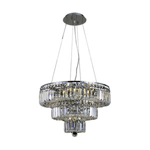 Maxim Chrome Nine-Light 20-Inch Three-Tier Chandelier with Royal Cut Clear Crystal
