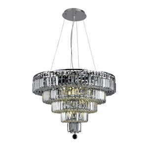 Maxim Chrome Fourteen-Light 26-Inch Five-Tier Chandelier with Royal Cut Clear Crystal