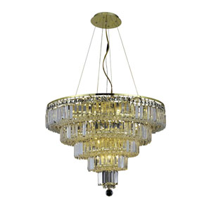 Maxim Gold Fourteen-Light 26-Inch Five-Tier Chandelier with Royal Cut Clear Crystal