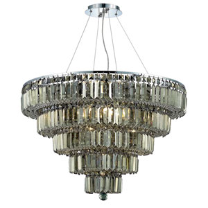 Maxim Chrome Seventeen-Light 30-Inch Five-Tier Chandelier with Royal Cut Golden Teak Smoky Crystal
