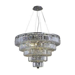 Maxim Chrome Seventeen-Light 30-Inch Five-Tier Chandelier with Royal Cut Clear Crystal