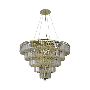 Maxim Gold Seventeen-Light 30-Inch Five-Tier Chandelier with Royal Cut Clear Crystal
