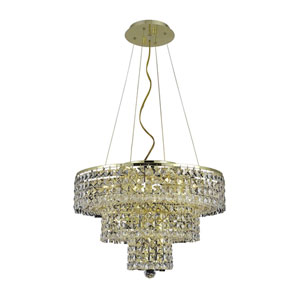Maxim Gold Nine-Light Chandelier with Clear Royal Cut Crystals
