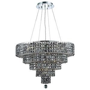 Maxim Chrome Fourteen-Light 26-Inch Four-Tier Chandelier with Royal Cut Silver Grey Crystal