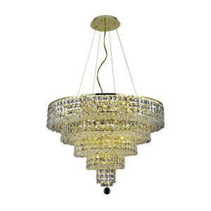 Maxim Gold Fourteen-Light Chandelier with Clear Royal Cut Crystals