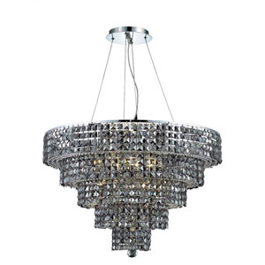 Maxim Chrome Seventeen-Light 30-Inch Five-Tier Chandelier with Royal Cut Silver Grey Crystal