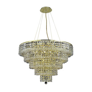 Maxim Gold Seventeen-Light Chandelier with Clear Royal Cut Crystals