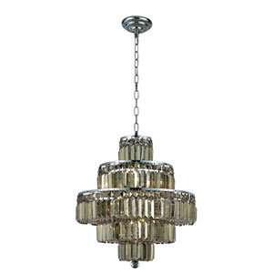 Maxim Chrome Thirteen-Light 20-Inch Five-Tier Chandelier with Royal Cut Golden Teak Smoky Crystal