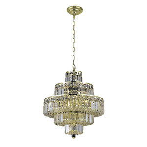 Maxim Gold Thirteen-Light 20-Inch Five-Tier Chandelier with Royal Cut Clear Crystal