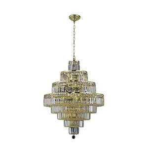 Maxim Gold Eighteen-Light 26-Inch Eight-Tier Chandelier with Royal Cut Clear Crystal