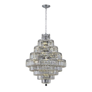 Maxim Chrome Twenty-Light 30-Inch Nine-Tier Chandelier with Royal Cut Clear Crystal
