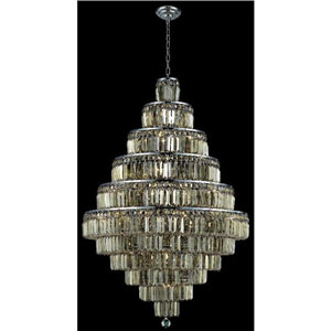 Maxim Chrome Thirty-Light Chandelier with Golden Teak/Smoky Royal Cut Crystals