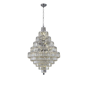 Maxim Chrome Thirty-Light Chandelier with Clear Spectra Swarovski Crystals