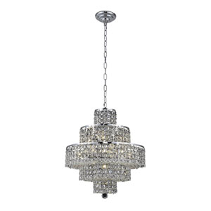 Maxim Chrome Thirteen-Light 20-Inch Five-Tier Chandelier with Royal Cut Clear Crystal
