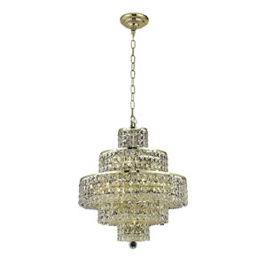 Maxim Gold Thirteen-Light Chandelier with Clear Royal Cut Crystals