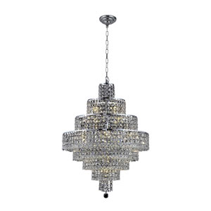 Maxim Chrome Eighteen-Light 26-Inch Eight-Tier Chandelier with Royal Cut Clear Crystal