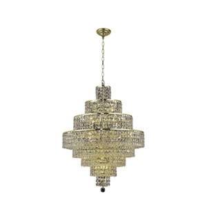 Maxim Gold Eighteen-Light Chandelier with Clear Royal Cut Crystals
