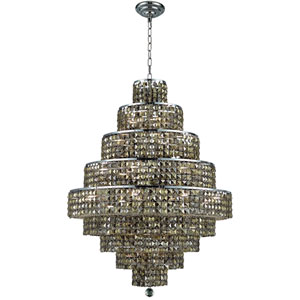Maxim Chrome Twenty-Light 30-Inch Nine-Tier Chandelier with Royal Cut Golden Teak Smoky Crystal