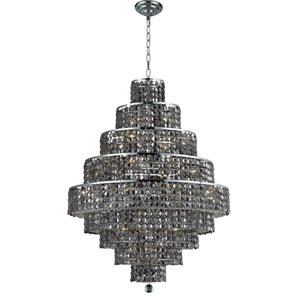 Maxim Chrome Twenty-Light 30-Inch Nine-Tier Chandelier with Royal Cut Silver Grey Crystal
