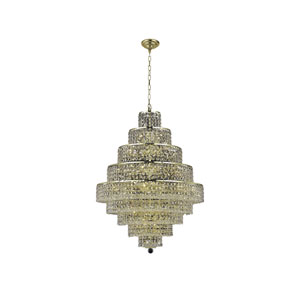 Maxim Gold Twenty-Light Chandelier with Clear Royal Cut Crystals