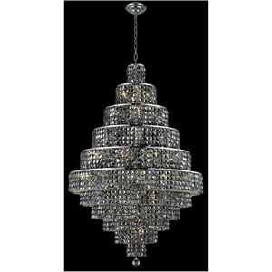 Maxim Chrome Thirty-Light Chandelier with Silver Shade/Grey Royal Cut Crystals