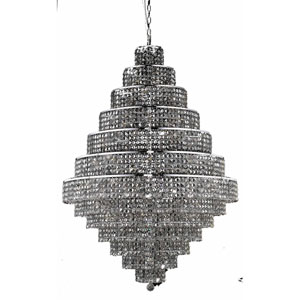 Maxim Chrome Thirty-Eight Light 42-Inch Thirteen-Tier Chandelier with Royal Cut Silver Grey Crystal