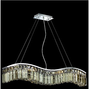 Contour Chrome Six-Light 5-Inch Island Pendant with Royal Cut Golden Teak Smoky Crystal