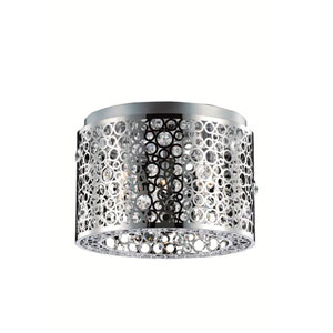Soho Royal Cut Crystal Chrome Three Light 10-in Flush Mount Fixture