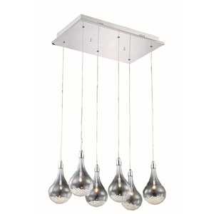 Edison Royal Cut Crystal Chrome Six Light 90-in Pendant