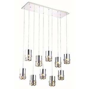Broadway Royal Cut Crystal Chrome LED 10 Light 11-in Pendant