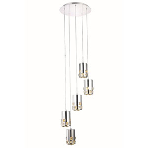 Broadway Royal Cut Crystal Chrome LED Five Light 120-in Pendant