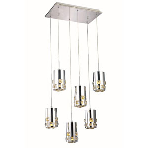 Broadway Royal Cut Crystal Chrome LED Six Light 21.5-in Pendant