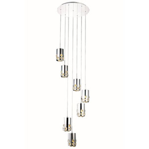 Broadway Royal Cut Crystal Chrome LED Seven Light 20-in Pendant