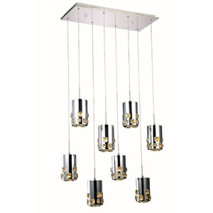 Broadway Royal Cut Crystal Chrome LED Eight Light 90-in Pendant
