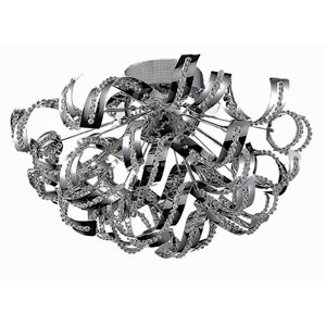 Tiffany Chrome 19-Light Flush Mount with Elegant Cut Crystal