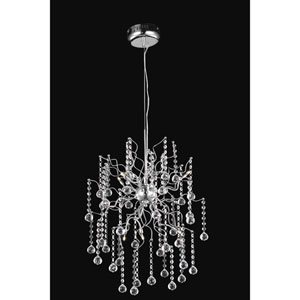 Astro Chrome Six-Light Chandelier with Clear Royal Cut Crystals