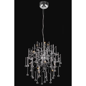 Astro Chrome Twelve-Light Chandelier with Clear Royal Cut Crystals