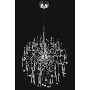 Astro Chrome Eighteen-Light Chandelier with Clear Royal Cut Crystals
