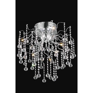 Astro Chrome Six-Light Semi-Flush Mount with Clear Royal Cut Crystals