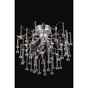 Astro Chrome Twelve-Light Semi-Flush Mount with Clear Royal Cut Crystals