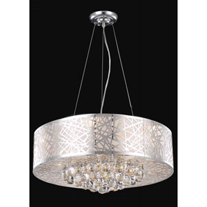 Prism Chrome Nine-Light Chandelier with Clear Royal Cut Crystals