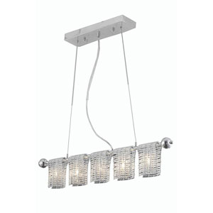 Vivid Chrome Five-Light Chandelier with Elegant Cut Crystal