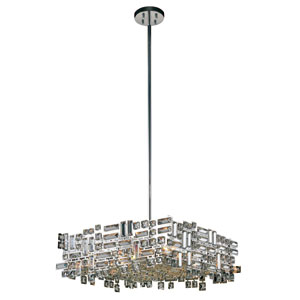 Picasso Chrome 24-Inch Six-Light Square Pendant with Clear Crystal