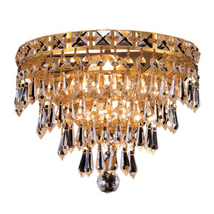 Tranquil Gold Three-Light 12-Inch Wall Sconce with Royal Cut Clear Crystal