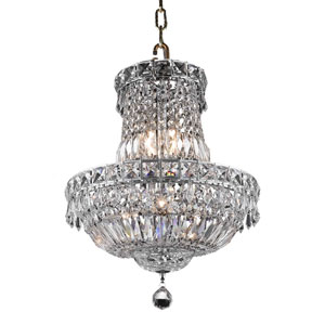 Tranquil Chrome Six-Light 14-Inch Chandelier with Royal Cut Clear Crystal
