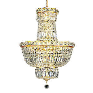 Tranquil Gold Twelve-Light 18-Inch Chandelier with Royal Cut Clear Crystal