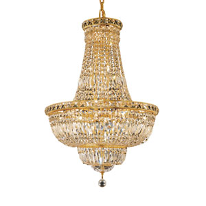 Tranquil Gold Twenty-Two Light 22-Inch Chandelier with Royal Cut Clear Crystal