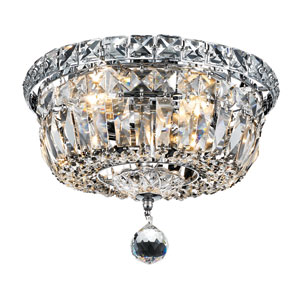 Tranquil Chrome Four-Light 10-Inch Flush Mount with Royal Cut Clear Crystal