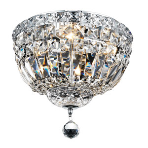 Tranquil Chrome Four-Light 12-Inch Flush Mount with Royal Cut Clear Crystal