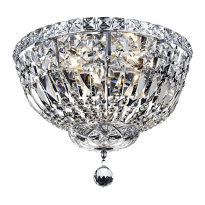 Tranquil Chrome Four-Light 14-Inch Flush Mount with Royal Cut Clear Crystal